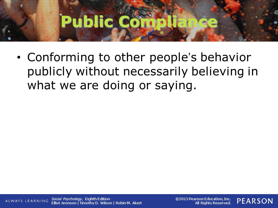 Public Compliance Conforming to other people's behavior publicly without necessarily believing in what we are doing or saying.