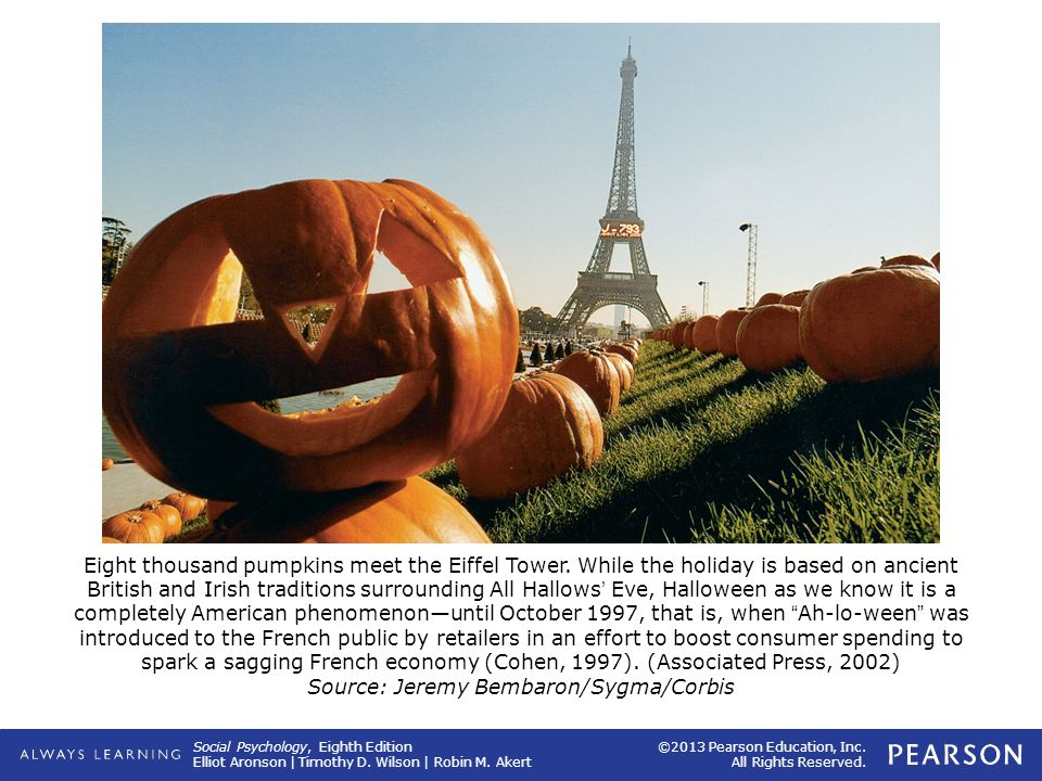 Informational social influence is how the French literally learned what this holiday is about. As of Halloween 1997, they had no idea of what treek au treeting was. However, by Halloween 2000, French shops were decorated in black and orange, carved pumpkins were displayed, and nightclubs held costume competitions.