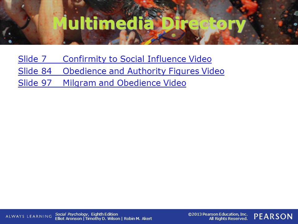 Multimedia Directory Slide 7 Confirmity to Social Influence Video