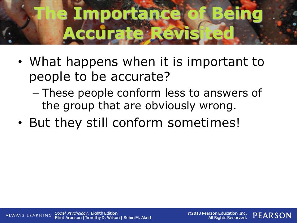 "the importance of conformity The features of conformity and obedience conformity: debra gray defines conformity as ""a change in behaviour in response to emphasis on importance."