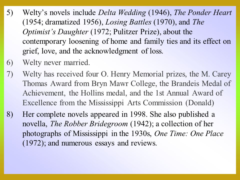 a brief review of eudora weltys short story a worn path Free summary and analysis of the events in eudora welty's a worn path that won't make you snore we promise skip to navigation  a worn path / brief summary .