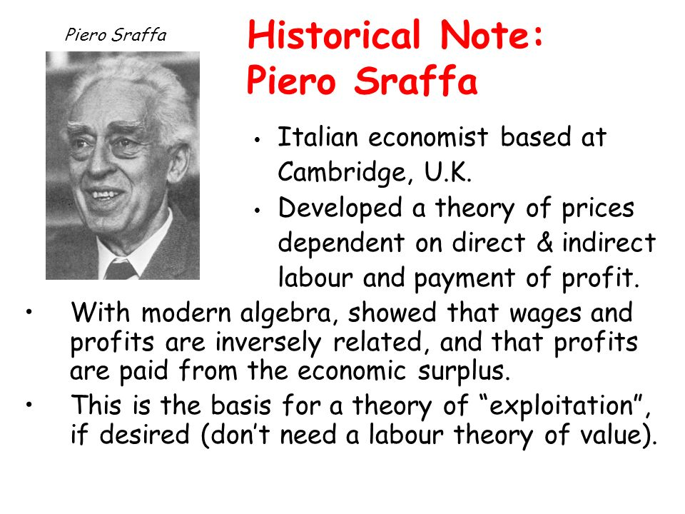 Historical Note: Piero Sraffa