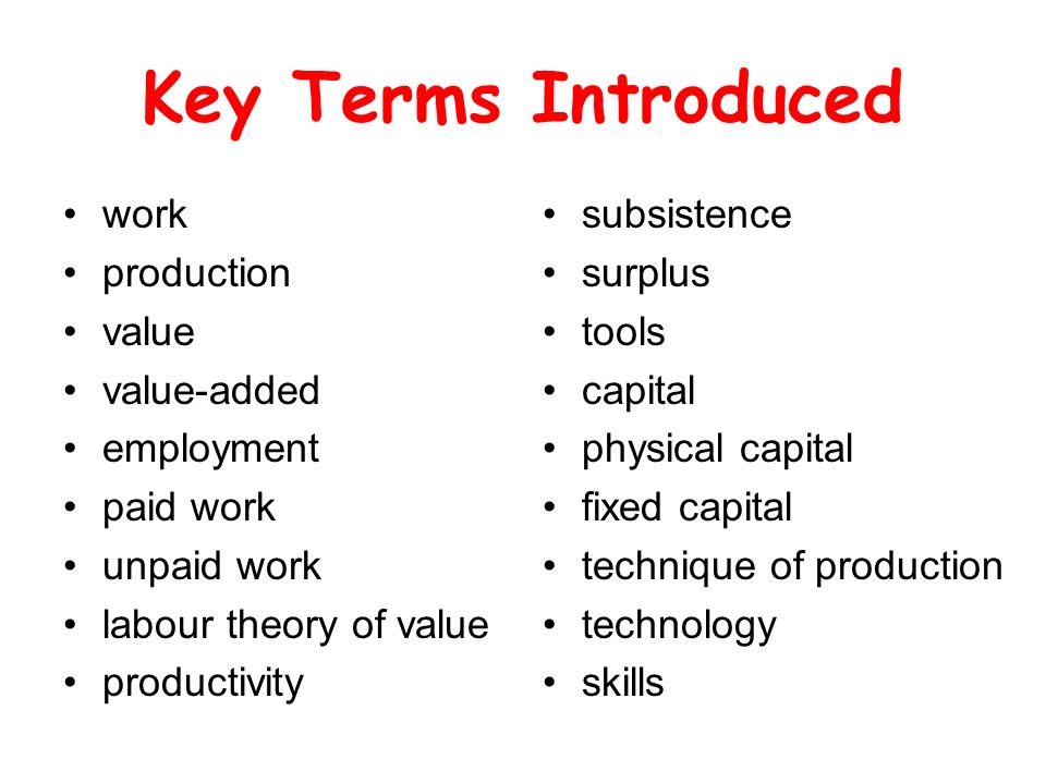 Key Terms Introduced work production value value-added employment