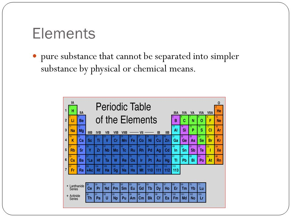 Elements pure substance that cannot be separated into simpler substance by physical or chemical means.