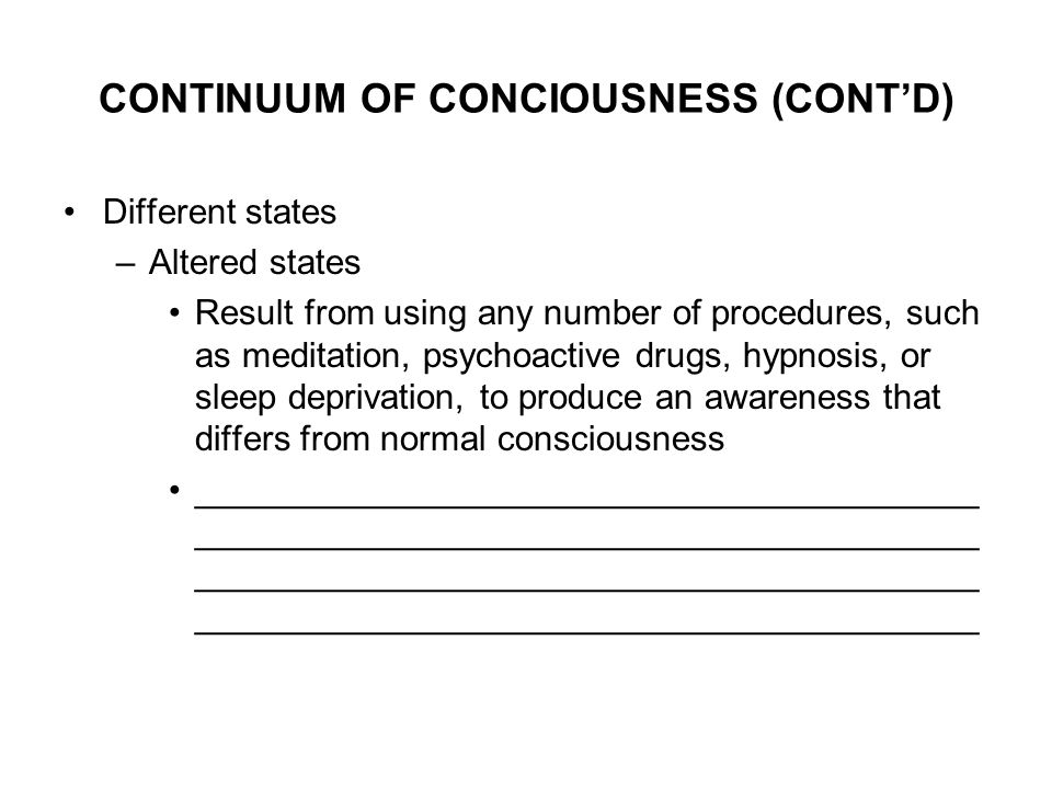 different levels of consciousness while daydreaming A summary of altered states in 's states of consciousness learn exactly what happened in this chapter, scene, or section of states of consciousness.