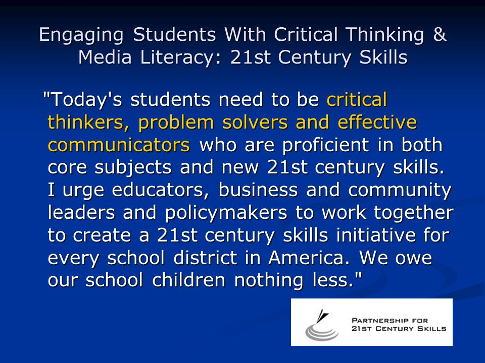 critical thinking in 21st century america essay A society with poor critical thinking skills: the case for 'argument' in education  a guide for the 21st century  newsweek named rav shmuly one of the top 50 rabbis in america download .