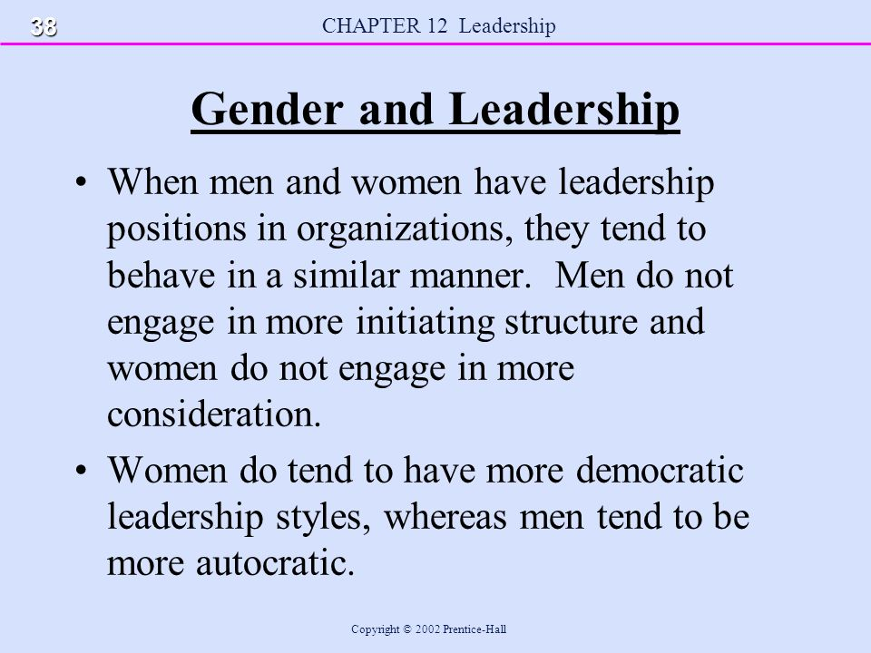 gender and leadership style Differences in leadership styles between  on the topic of gender differences in leadership style and to provide a  in leadership styles.
