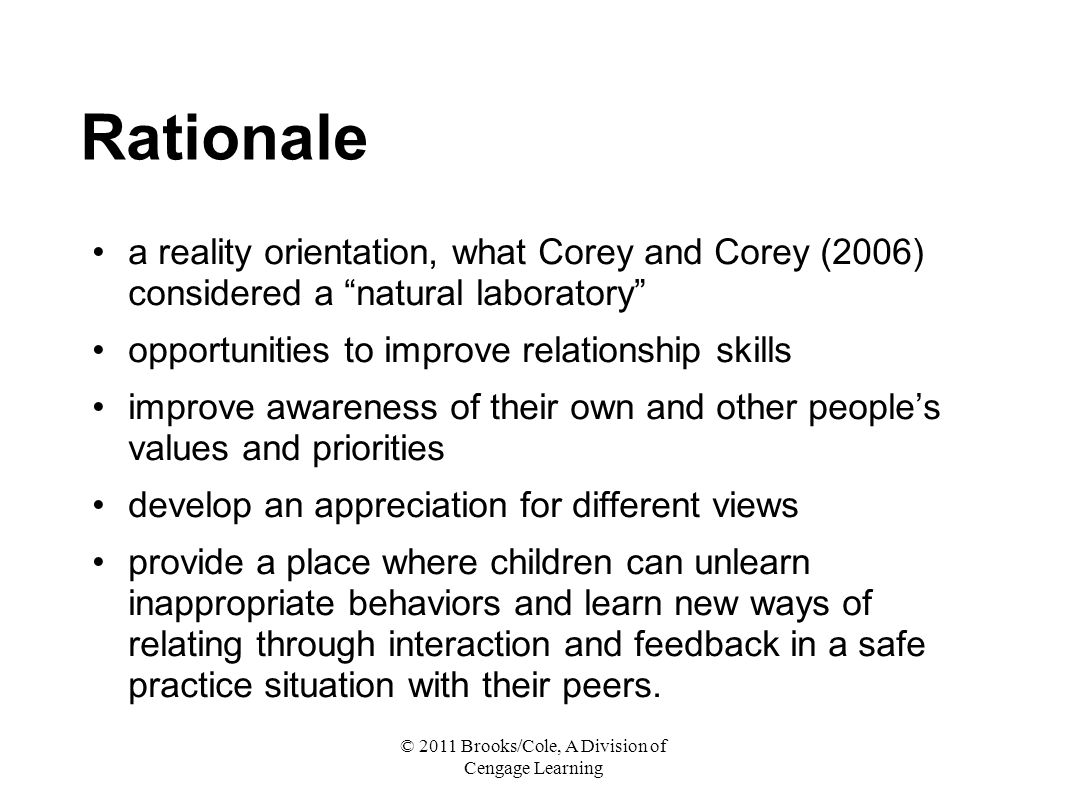 personal rationale on counselling Self-critique technique training in a competency-based practicum the student's presentation of a response rationale for self-selected videotape excerpts group, marital, or family counseling, as appropriate included among the competency list for individual counseling are those.