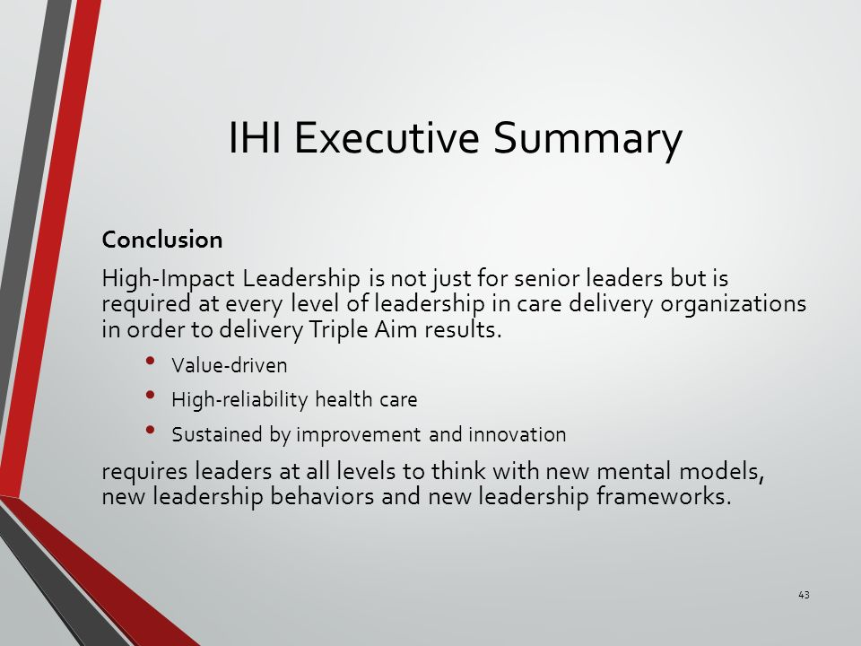 leadership impact on a healthcare organization 6 building a leadership team for the health care organization of the future to address these questions, spencer stuart and the aha conducted an online survey of more than 1,100 executives, primarily from large health care systems across the united states.