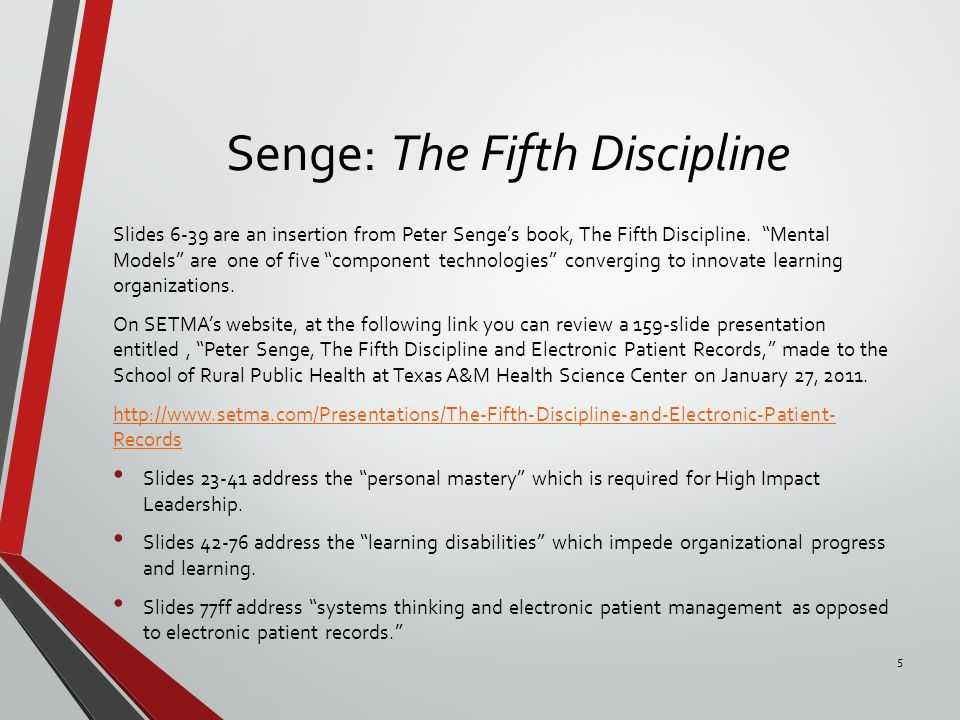 peter senges five disciplines essay How would you use peter senge's five disciplines to (1) understand the changing environment at google, (2) assess the major events influencing the changes, and (3.