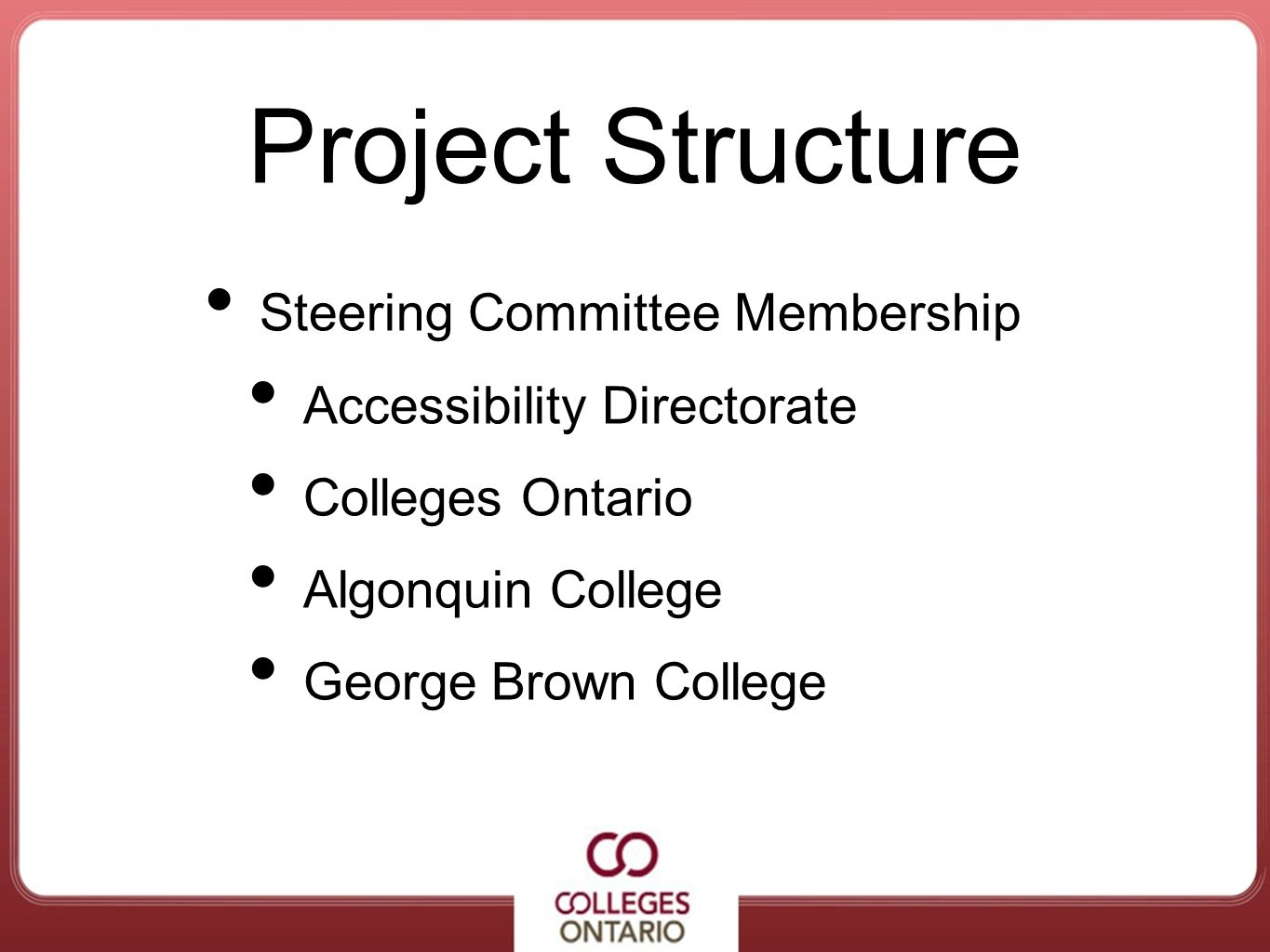 Project Structure Steering Committee Membership