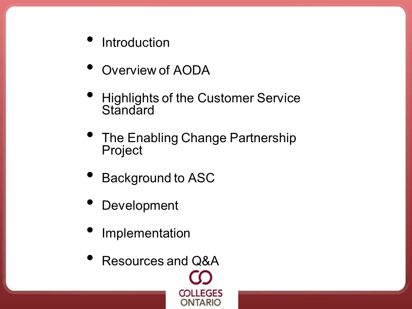 Agenda Introduction Overview of AODA
