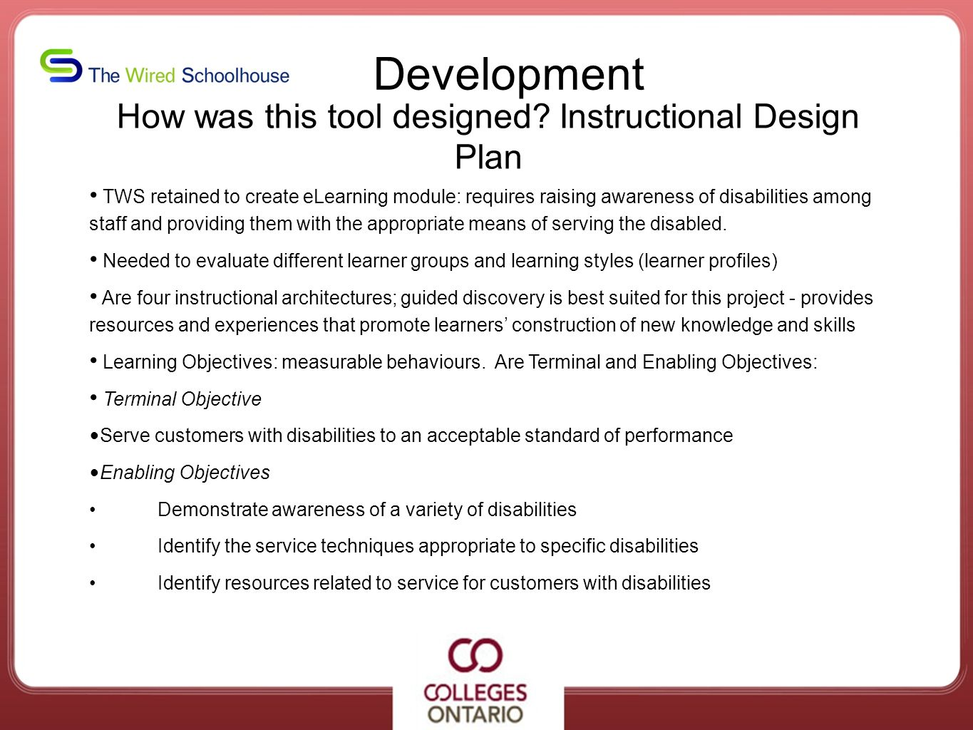 How was this tool designed Instructional Design Plan