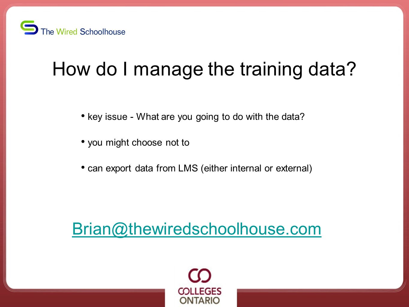 How do I manage the training data