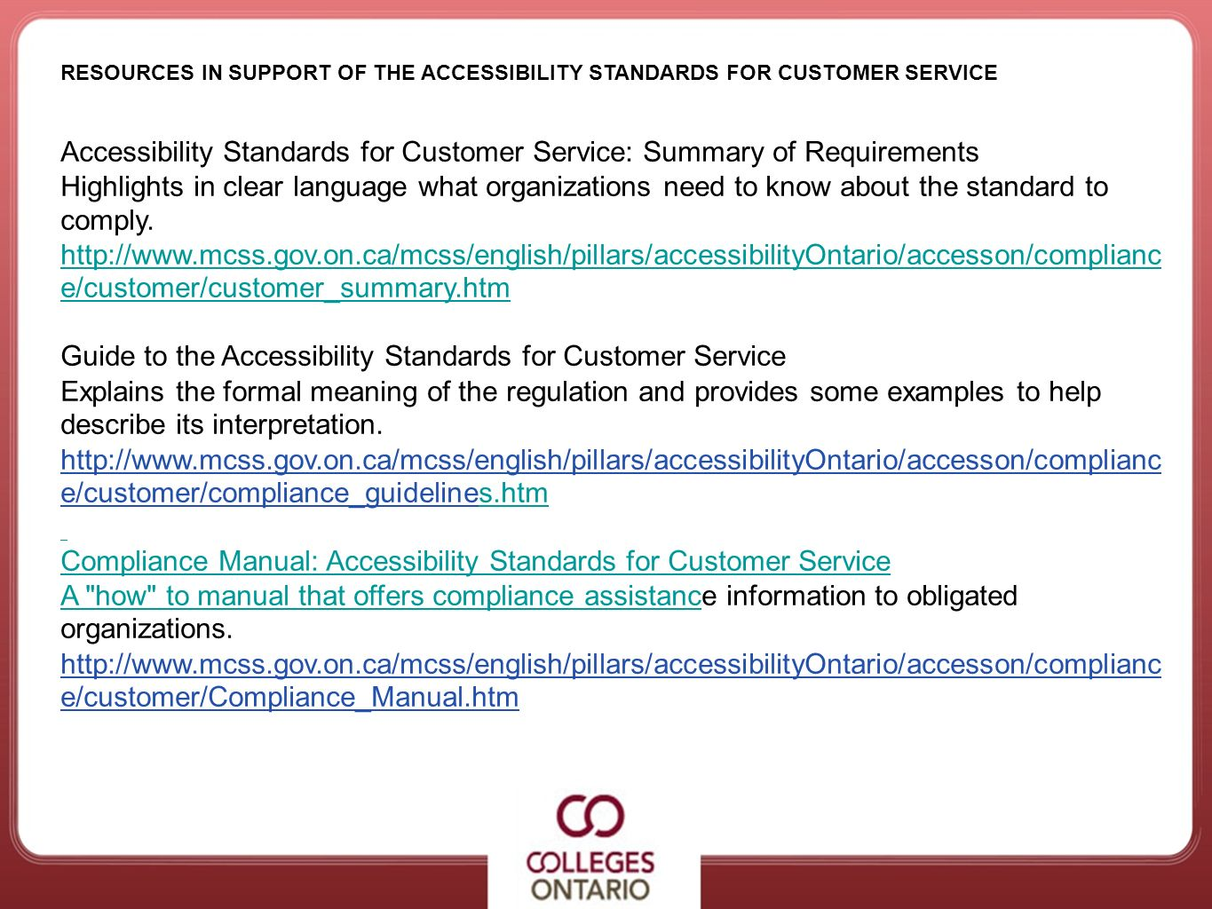 Accessibility Standards for Customer Service: Summary of Requirements