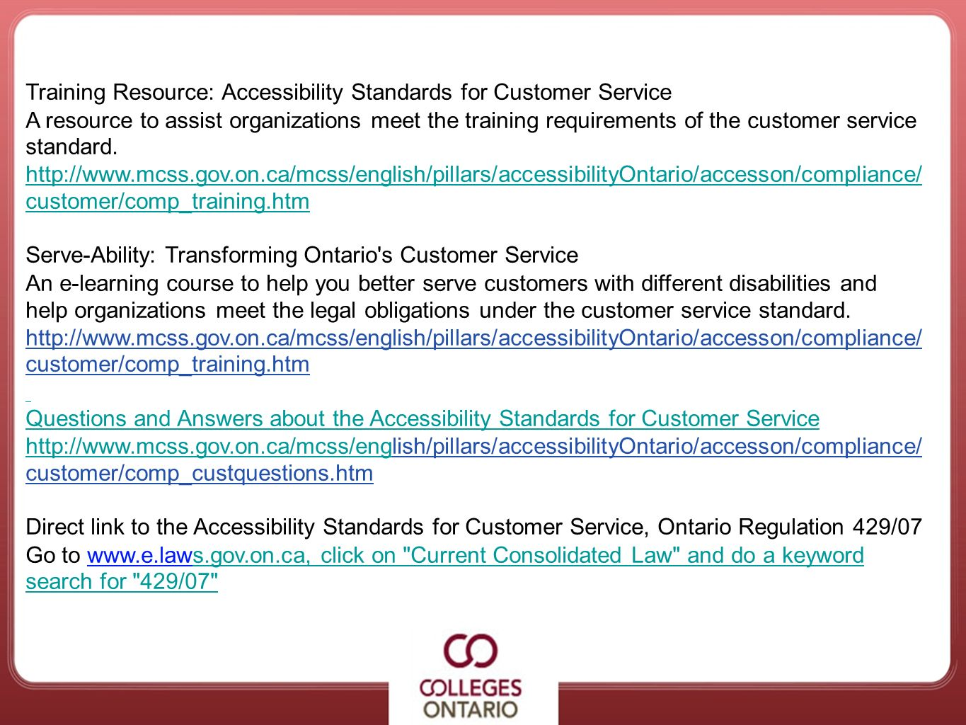 Training Resource: Accessibility Standards for Customer Service