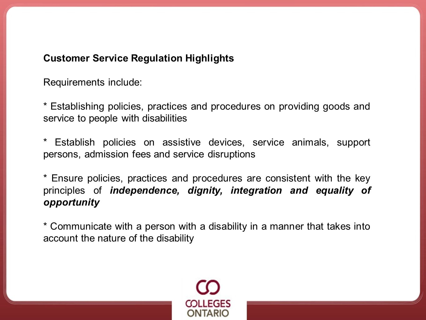 Customer Service Regulation Highlights