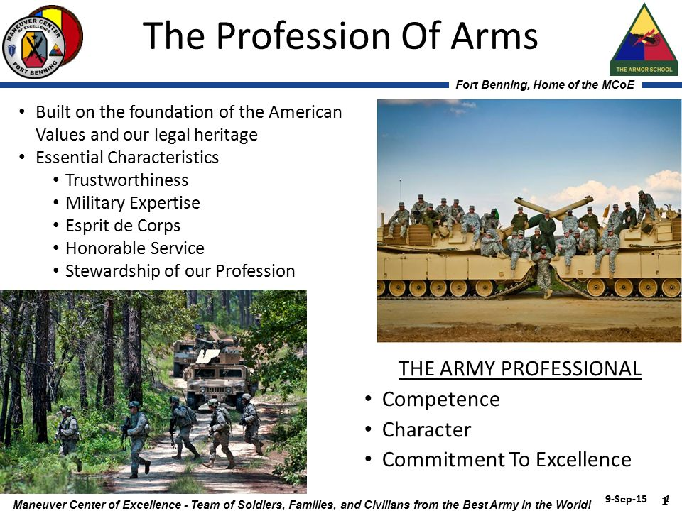 profession of arms military The army is a profession because we as soldiers choose it to be so the american people see the military as an organization that provides various services in a particular arena of life, much like a plumber or electrician, we are in the profession of arms but what separates us from these professions.