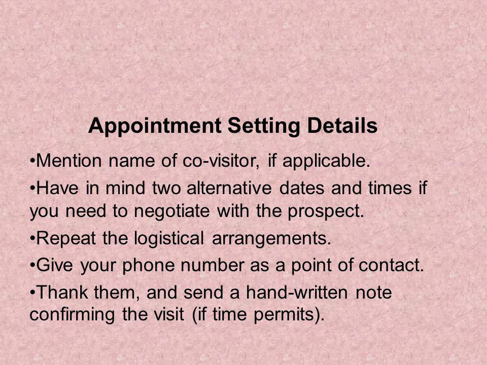 Appointment Setting Details