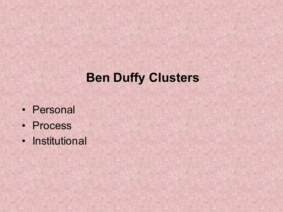 Ben Duffy Clusters Personal Process Institutional