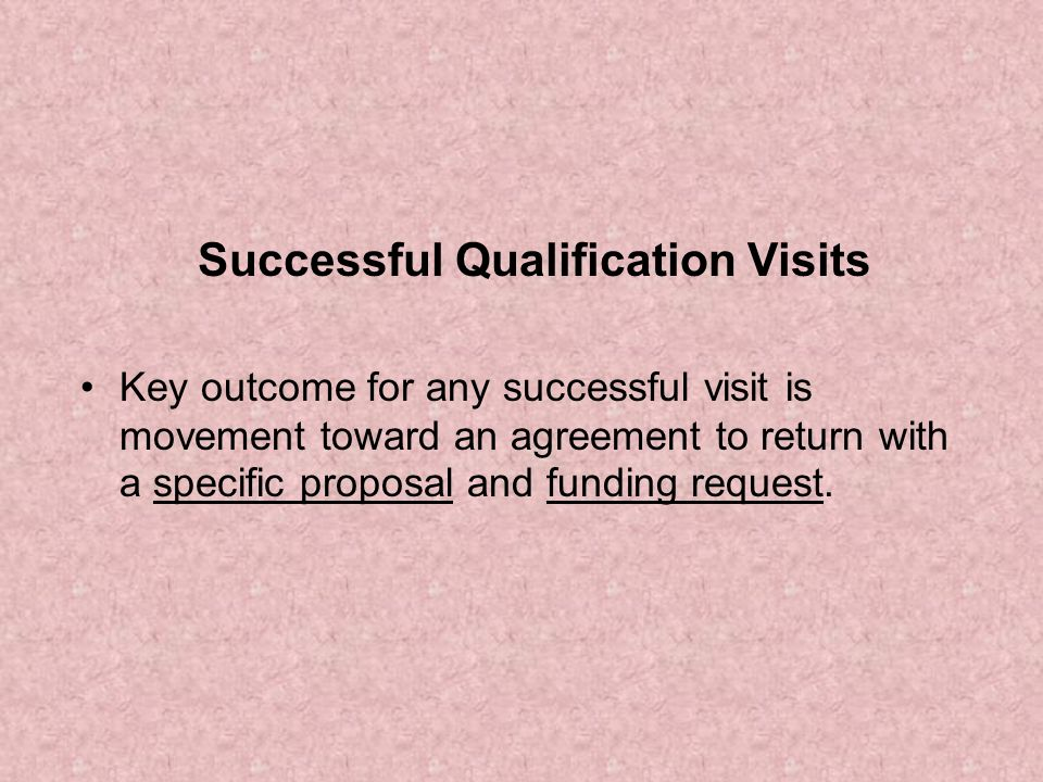 Successful Qualification Visits