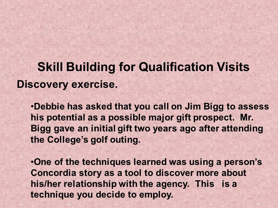 Skill Building for Qualification Visits