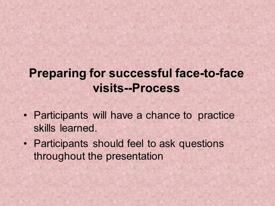 Preparing for successful face-to-face visits--Process
