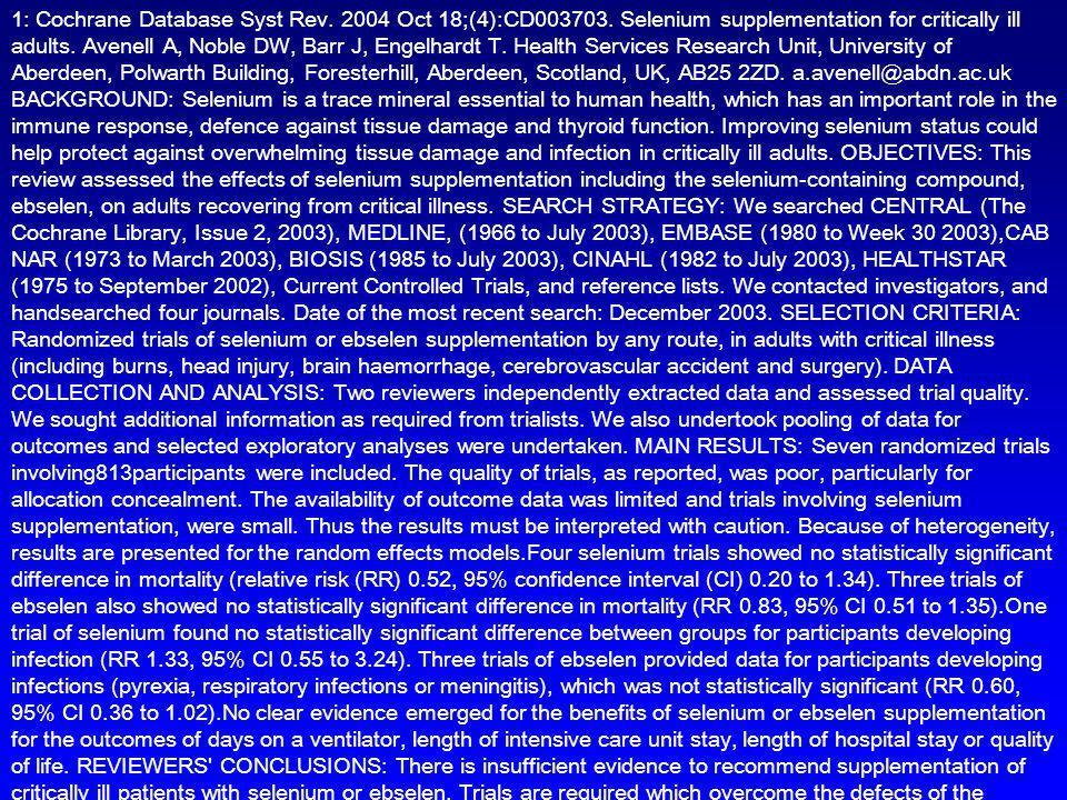 1: Cochrane Database Syst Rev. 2004 Oct 18;(4):CD003703