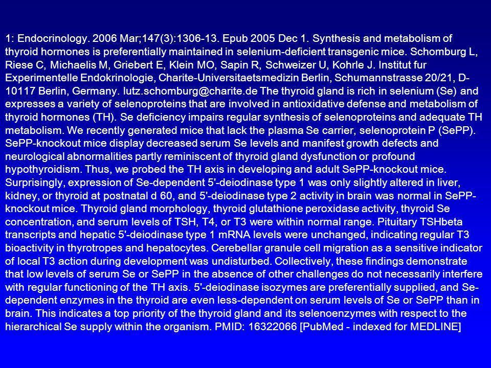 1: Endocrinology. 2006 Mar;147(3):1306-13. Epub 2005 Dec 1