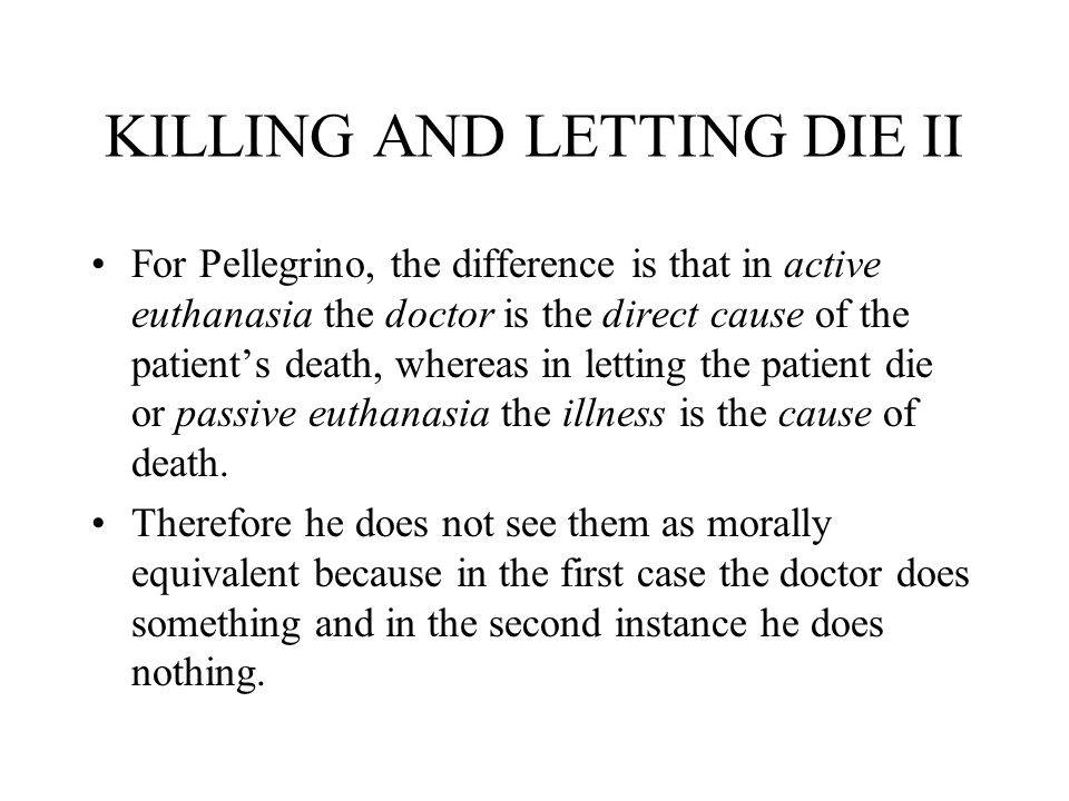 equivalence thesis killing and letting die Rachels on killing and letting die if i recall, that's sort of what he puts forward in a different paper with the equivalence thesis: killing.