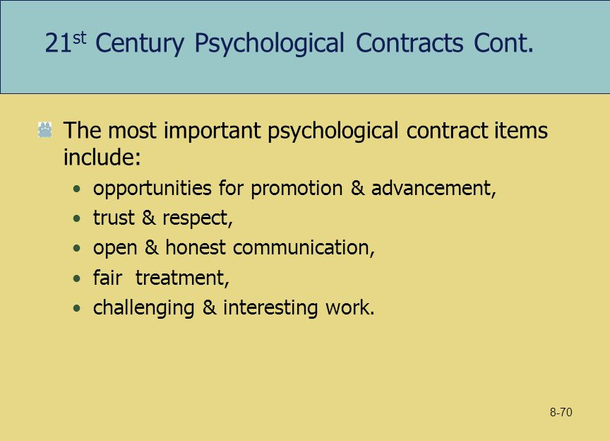 psychological contract in the 21st century A psychological contract conway, neil & briner, rob b understanding psychological contracts at work: a critical evaluation of theory and kickul, jill psychological contracts in the 21st century: what employees value most and how well organizations are responding to these expectations.