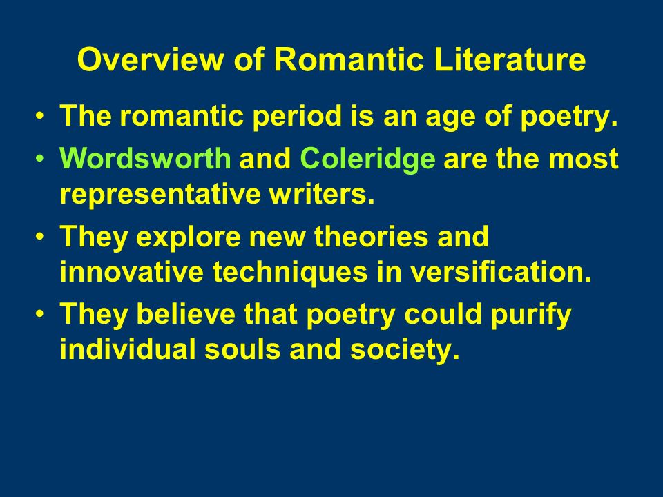 first generation romantics Assignment : shelly vs keats  the main members of this second generation — though geniuses — died young and were outlived by the first generation of romantics.