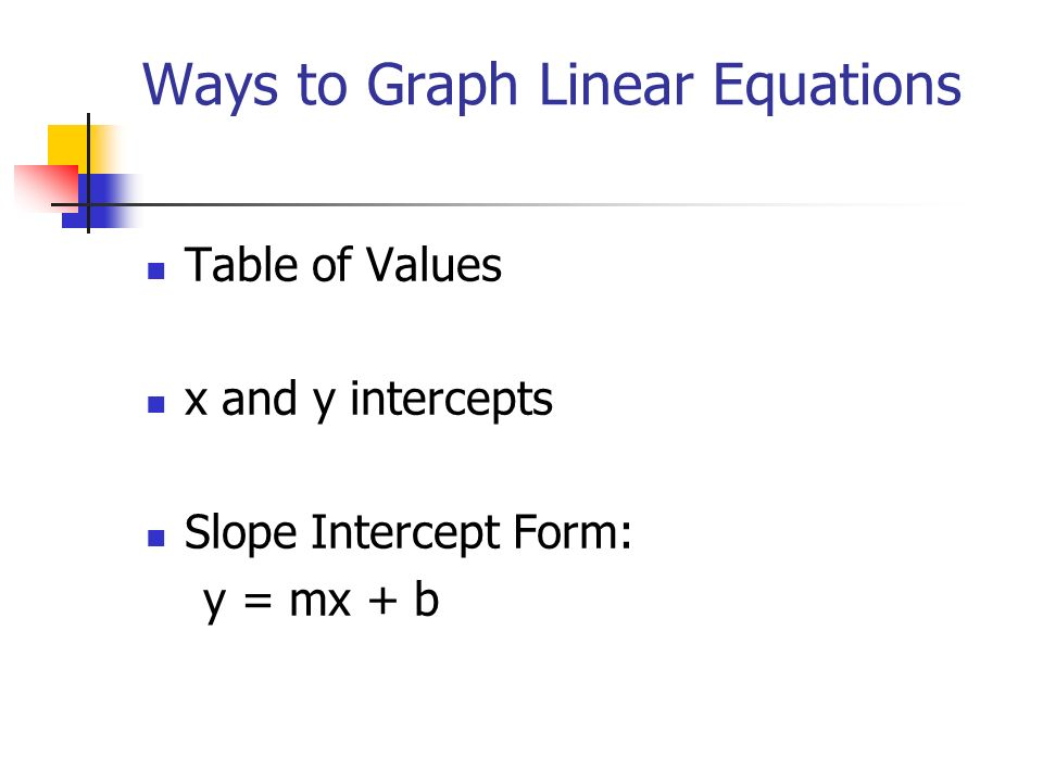 Graphing linear equations ppt video online download for X and y table of values