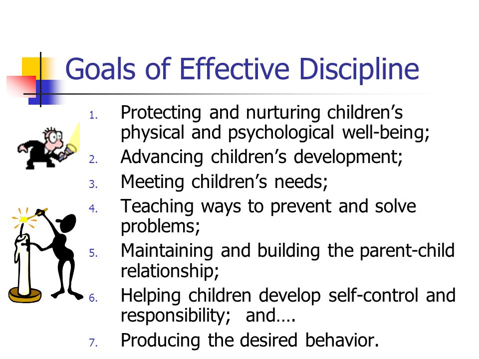 effective discipline without physical punishment Strategies for effective discipline effective discipline requires three essential components: 1) a positive, supportive, loving relationship between the parent(s) and child, 2) use of positive reinforcement strategies to increase desired behaviors, and 3) removing reinforcement or applying punishment to reduce or eliminate undesired behaviors.