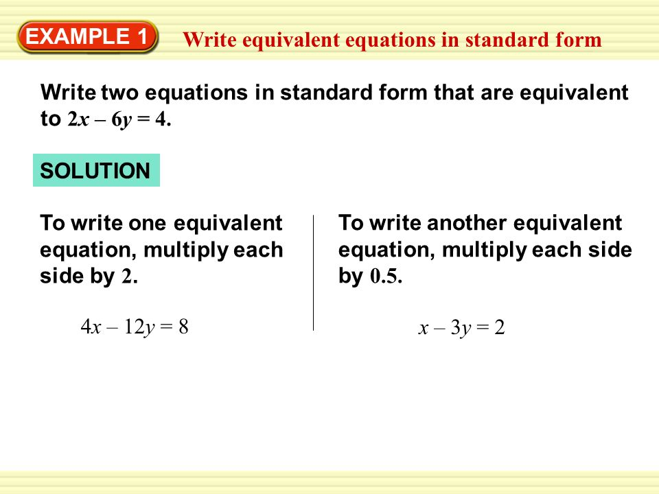 writing equations in standard form calculator Our goal: to find the standard form of the given circle equation by factoring in order to factor the original equation, we will need to add a magic number to both sides of the equation remember, of course, that we can always add something to both sides of an equation without unbalancing it.