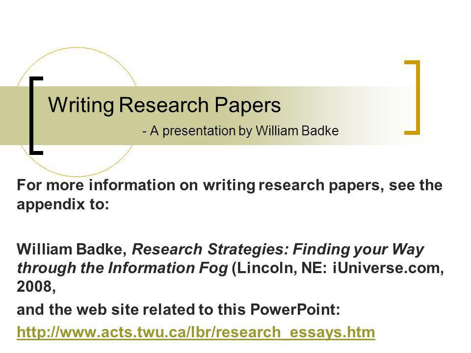 writing research papers This page lists some of the stages involved in writing a library-based research paper although this list suggests that there is a simple, linear process to writing.