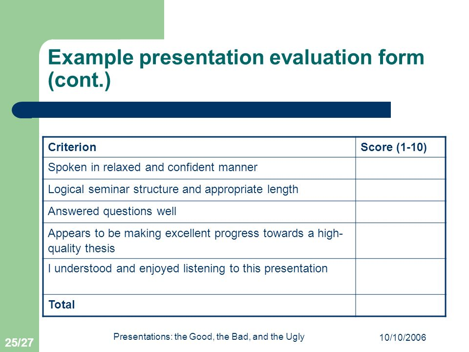 Example presentation evaluation form (cont.)