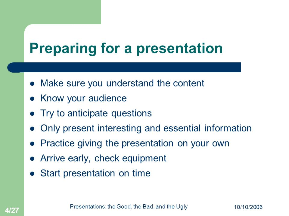Preparing for a presentation