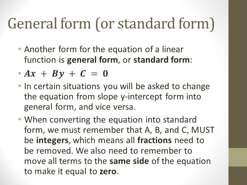 6.6 : General Form of the Equation for a Linear Relation - ppt ...