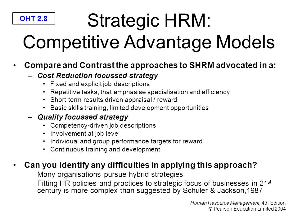 strategic hrm best fit model Models of hrm 1 the hard and soft institutional and political forces that have been underestimated in other models the latter, at best, consider the context as a contingency variable the contextual approach is broader, integrating the human resource management system in the environment in which it is developed.