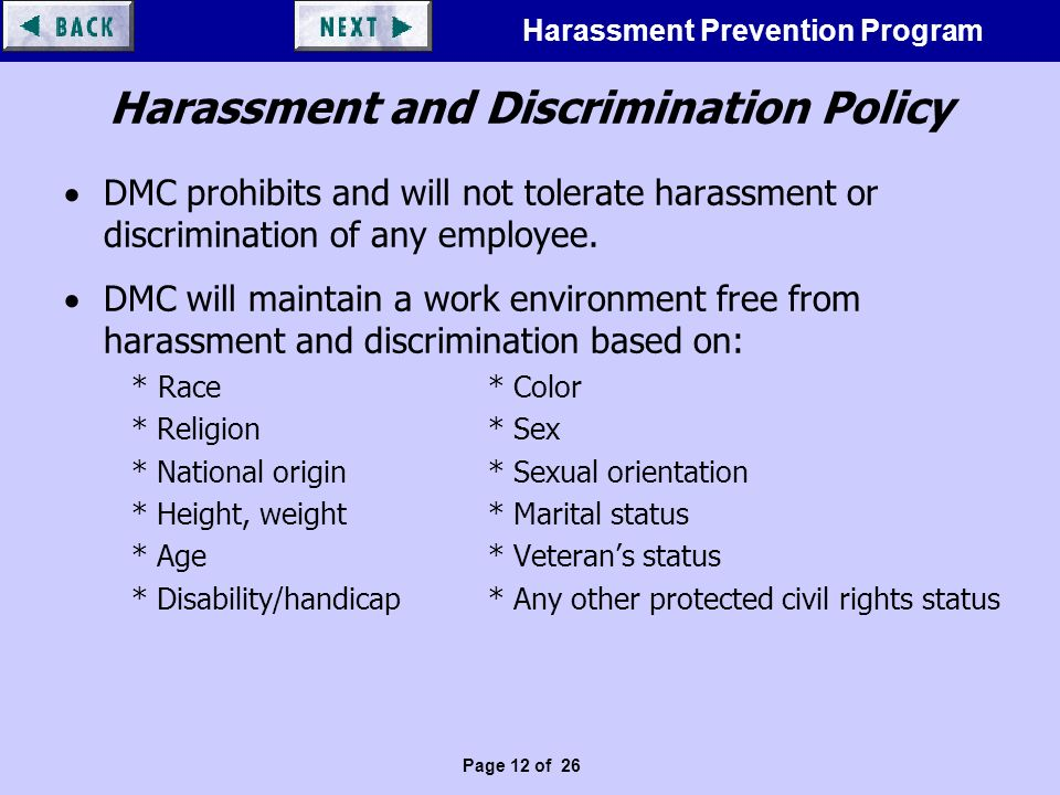 However, Sexual discrimination policy