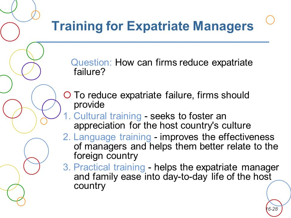 expatriate failure International business ch 16 global human resource management expatriate failure rates can be reduced through better selection procedures based on 4 dimensions.