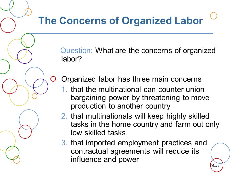in what ways can organized labor In what ways can organized labor constrain the strategic choices of an  international business how can an international business limit these constraints.
