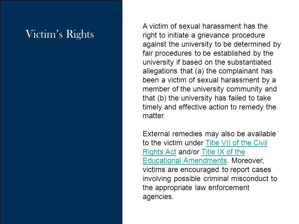 Sexual harassment under title vii
