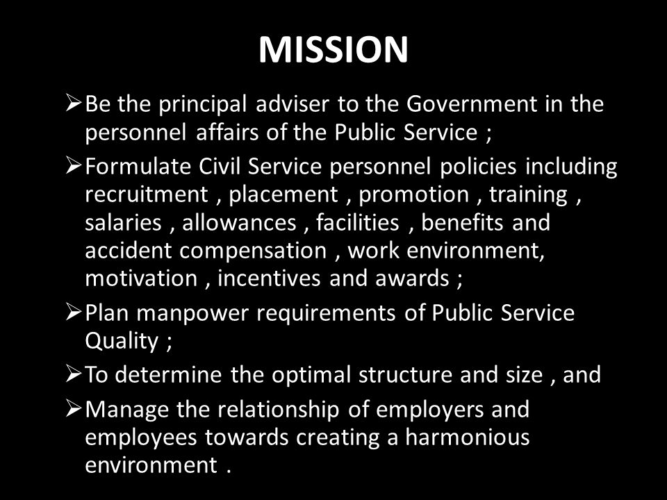MISSION Be the principal adviser to the Government in the personnel affairs of the Public Service ;