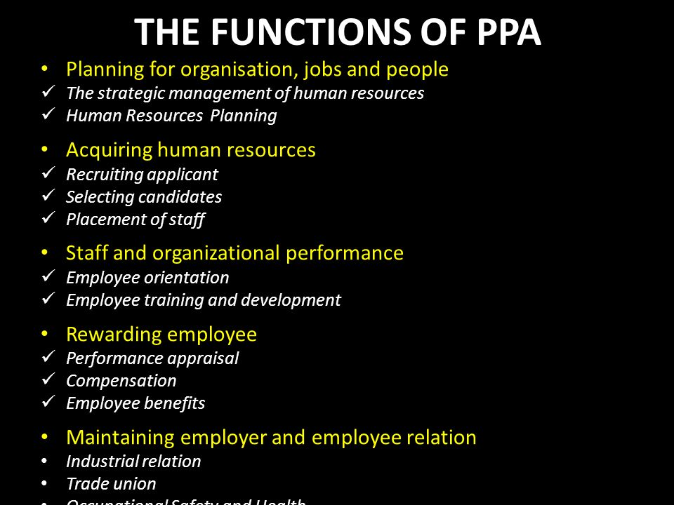 THE FUNCTIONS OF PPA Planning for organisation, jobs and people