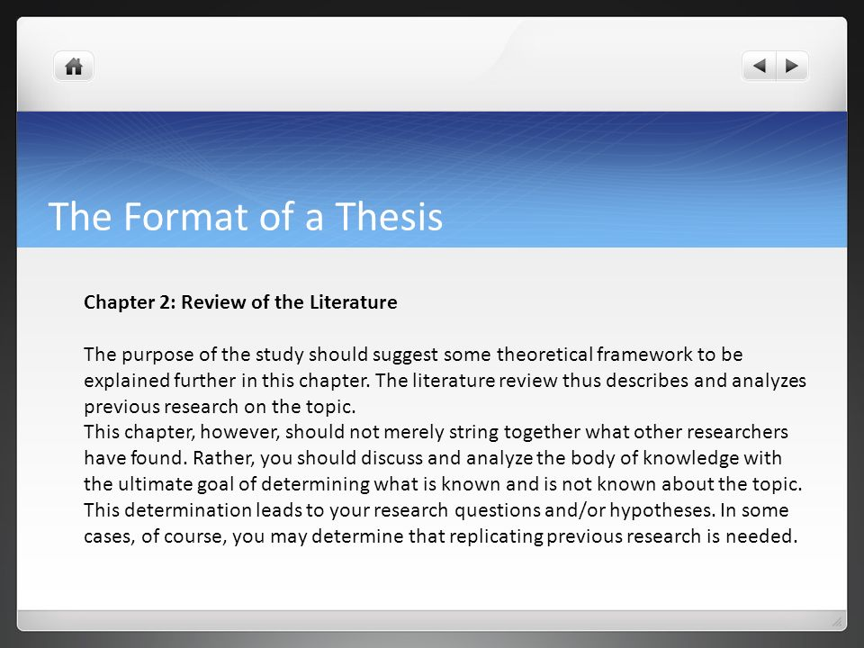 Different chapters of thesis proposal
