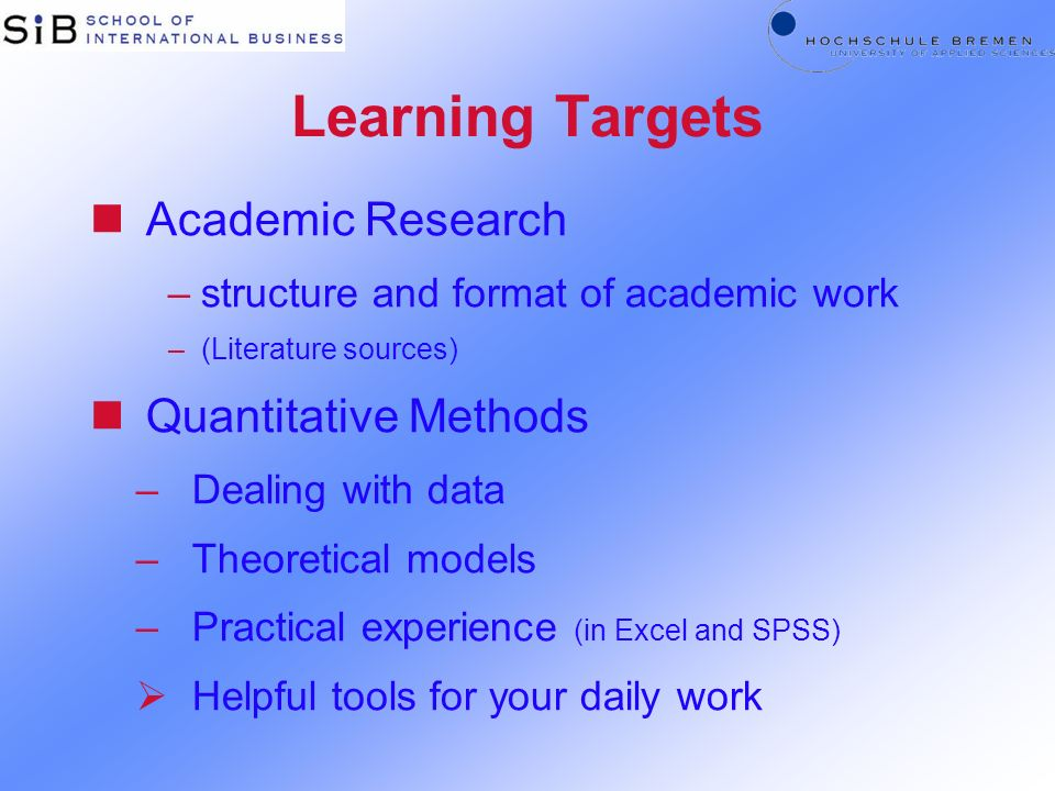 Learning Targets Academic Research Quantitative Methods