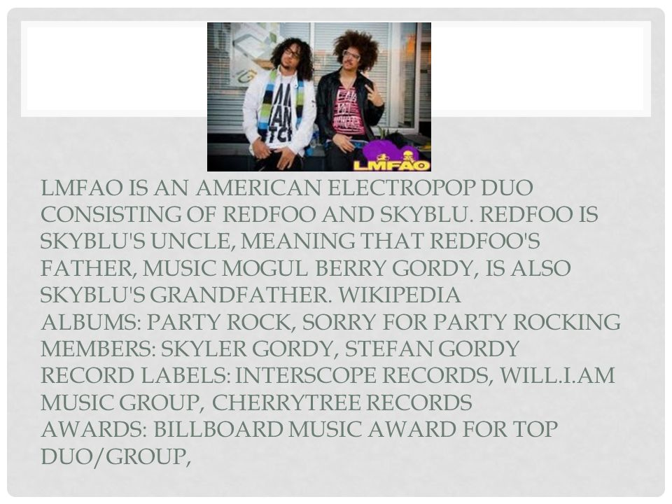 LMFAO is an American electropop duo consisting of Redfoo and SkyBlu
