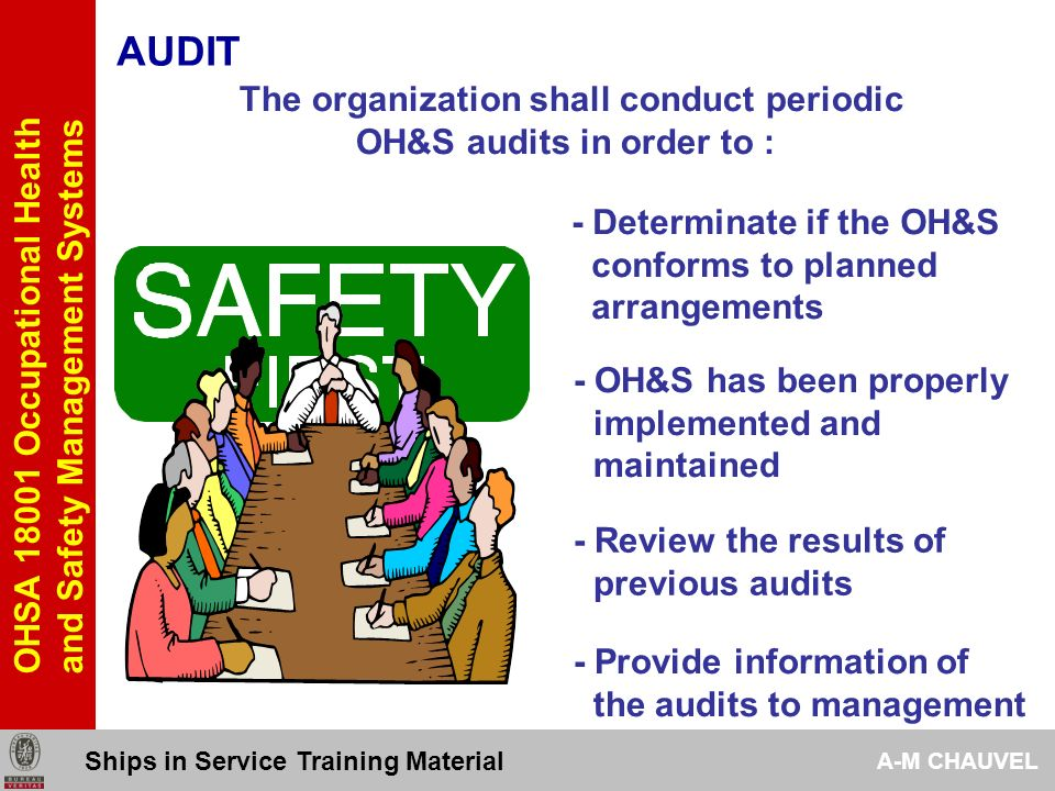 AUDIT The organization shall conduct periodic